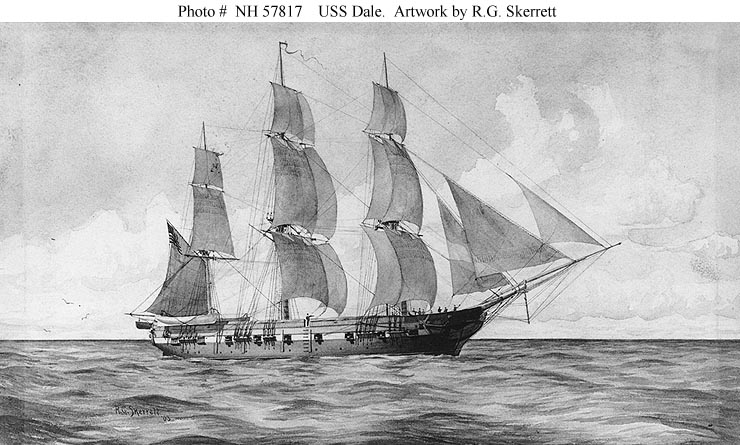 The USS Dale, a 16-gun frigate, was under construction in the Frigate House when Henry and the family visited the Navy Yard.  Dale was launched on October 8, 1839, and sailed to Norfolk to be made ready for sea.  This image is in the public domain