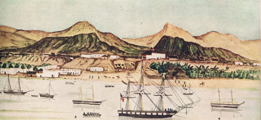 USS Dale, at harbor in La Paz, with Mexican ships.   Painted by William H. Mayers, a gunner on Dale.  This image is in the public domain